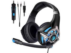 Gaming Headset for PS4 Xbox OnePC Surround Sound OverEar Headphones with Noise Cancelling Mic Soft Comfort Earmuffs for Laptop Mac NintendoBlack