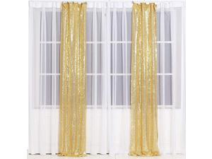 Glitter Sequin Backdrop Curtains for Wedding Party Decor Sequence Christmas Backdrop Curtain 2 Pack W3FT x H7FTAmber Gold