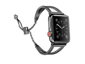 Bands Compatible with Apple Watch Band 38mm 40mm iWatch SE Series 654321 Women Dressy Metal Jewelry Bracelet Bangle Wristband Stainless Steel Black