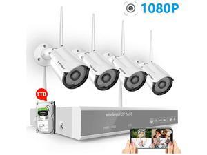 2020 New 1080P Full HD Security Camera System Wireless with 1TB Hard Drive 8 Channel NVR Systems 4PCS 2MP Indoor Outdoor Home Surveillance Cameras with Night Vision Motion Detection