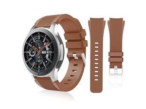 Compatible with Samsung Galaxy Watch 46mm BandsGear S3 Frontier Classic Watch BandsGalaxy Watch 3 Bands 45mm 22mm Soft Silicone Bands Bracelet Sports Strap for Men WomenBrown