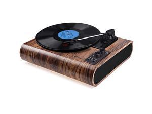 Record Player  Vintage Turntable 3Speed Bluetooth Vinyl Player LP Record Player with Builtin Stereo Speaker AMFM Functionand Auxin RCA Output Natural Wood