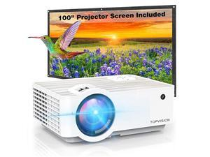 Video Projector  5500L Portable Mini Projector with 100 Projector Screen 1080P Supported Built in HIFI Speakers Compatible with Fire Stick HDMI VGA USB TF AV PS4