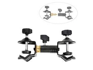 Duty Metal Clamp Copper Plated Holder Double U Clip Dual C Clamp Type Bracket Mount for Photo Studio Light Stand Photography Reflector Photo Boom Stand Background Support Cross Bars and Ect