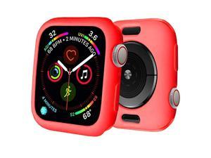 for Watch Case 38mm 42mm 40mm 44mm Premium Soft Flexible TPU Thin Lightweight Protective Bumper Cover Protector for Smartwatch Series 5 4 Series 3 2Red44MM Series 45