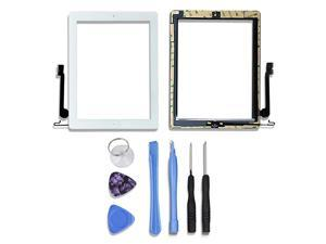 Digitizer for Ipad 4 with Home Button Touch Screen Repair Kits Included Professional Repair Tools and Preinstalled AdhesiveWhite
