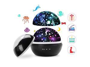 Star Night Light Projector  Romantic Rotating Night Lamp Moon Star Sea Animals Cover Projector Night Light for Kids BedroomBlack