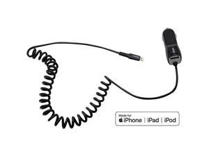 Certified iPhone Car Charger Ultra Durable 4ft Coiled Lightning Cable 34 Amp Rapid Power iPhone 12 11 Pro Max XS XR X 8 Plus 7 6S 6 SE 5S 5C 5 iPad Mini Air iPod Extra USB Port Black