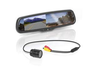 BV430RVM Rearview Car Mirror with 43 Inch Built in High Resolution Digital Monitor Includes Weatherproof Rearview Backup Camera and Brackets