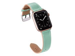 Compatible with Apple Watch Band 44mm 42mm 40mm 38mm Genuine Leather Replacement Band for iWatch Series 6 5 4 3 2 1 SE Mint GreenSilver 44mm42mm