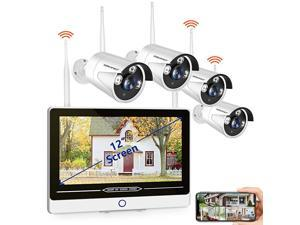 2021 NEW12INCH All in One with 12 Monitor 1080P Security Camera System Wireless8Channel Indoor Outdoor Home Camera System4pcs 20MP1080P Waterproof Bullet IP CamerasP2PFree APPNO HDD