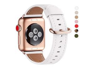 Compatible iWatch Band 42mm 44mmTop Grain Leather Band with RoseGold AdapterThe Same as Series 543 with Gold Aluminum Case in Colorfor iWatch SE Series 65 4321White Band+RoseGold Adapter