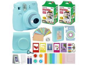 Fuji Instax Mini 9 Instant Camera ICE Blue wCase + Fuji Instax Film Value Pack 40 Sheets for  Instax Mini 9 Camera + Accessories Color Filters Photo Album Selfie Lens + More