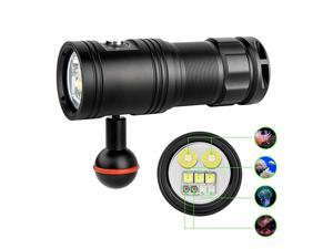 DF30 150 Degree Diving Photography Video Flashlight 2350 Lumen Underwater Camera Dive Light with 32650 Rechargeable Battery