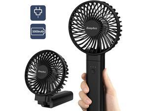 Handheld Fan  5000mAh Battery Fan 2020 Upgraded Portable Fan with Unique One Touch Power Off USB Desk Fan 420 Hours 4 Speeds Strong Winds Personal Cooling Fan for Home Office OutdoorBlack