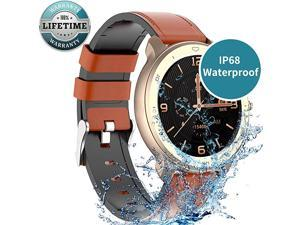 Smart Watch Android Compatible with iPhone Samsung, Bluetooth Android Smart Watches Waterproof, Smartwatch iPhone Fitness Activity Tracker with Monitor Heart Rate Sleep for Women Men (Gold)