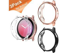 Compatible for Samsung Active 2 Watch Band 44mm, 3 Pack Screen Protector for Galaxy Active 2 Watch Accessories TPU for Galaxy Watch Active 2 44mm, Samsung Galaxy Watch (Black+Rose Gold+Clear)