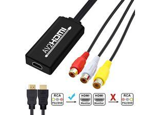 RCA to HDMI Cable AV to HDMI Converter  Mini RCA Composite CVBS to HDMI Video Audio Adapter Supporting PAL NTSC for TV PC Laptop Xbox PS2 PS3 STB VHS VCR Camera DVD