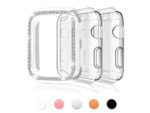 3Pack Compatible for Apple Watch Case 44mmWomen Girls 1 Pack Bling PC Full Cover Bumper 2 Pack TPU Screen Protector Cover Replacement for iWatch Series 65 4 Clear+Clear+Clear