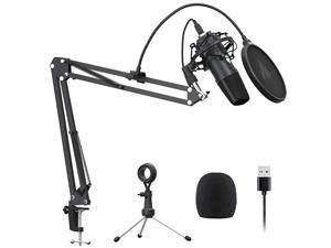 USB Microphone  AUA04 Plus Cardioid Condenser Podcast Mic 192kHz24bit Plug and Play Provide Two Mic Holders for Livestreaming Voice Over YouTube Gaming ASMR