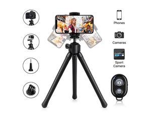 Phone Tripod Stand  Flexible Cell Phone Selfie Stick Tripod with Wireless Remote Control Camera Tripod Stand Holder Mount and Phone Clip for iPhone Android Phone DSLR Sports Camera