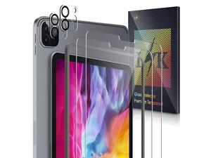 Pack] L?K Compatible for iPad Pro 11 2020 and 2021, 2 Pack Screen Protector Tempered Glass + 2 Pack Camera Lens Protector, Alignment Frame, Ultra Sensitive, Face ID & Apple Pencil Compatible