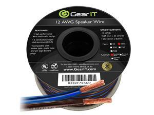 Pro Series 12AWG Speaker Wire 12 Gauge Speaker Wire Cable 100 Feet 30 Meters Great Use for Home Theater Speakers and Car Speakers Transparent BlackBlue