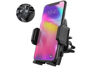 Phone Holder for Car, Universal Car Air Vent Mount with Adjustable Compatible with iPhone 11 Pro Max XS XS Max XR X 8 8+ 7 7+ SE 6s 6+ 6 5s Samsung Galaxy S10 S9 S8 S7 and More (Black)