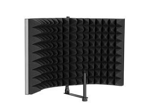 Microphone Isolation Shield Foldable Adjustable Durable Studio Recording Microphone Isolator Panel for Stand Mount or Table TopExtra Large Size