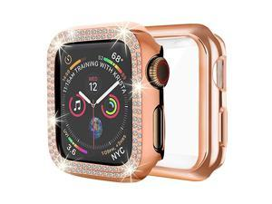 Case Compatible with Apple Watch 38mm Bling PC Full Cover Bumper TPU Soft Screen Protector Case 2 Pack for iWatch Series 321 Women Girl38MMRose Gold+ Rose Gold