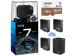 HERO7 Black Waterproof Digital Action Camera with Touch Screen 4K HD Video 12MP Photos Live Streaming Bundle with Dual Charger 2 Extra Batteries + 128GB microSD Card + Cleaning Cloth