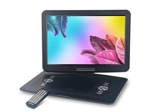 17.9'' Large Portable DVD/CD Player with 15.4'' Swivel Screen, 6 Hrs 5000mAH Rechargeable Battery, 1366x768 HD LCD TFT, Regions Free, Support USB/SD Card/ Sync TV , High Volume Speaker