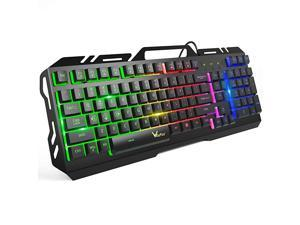 Gaming Keyboard  Colorful Rainbow LED Backlit Wired Computer Gaming Keyboard with 104 Keys USB Wired Keyboard and SpillResistant for Windows PC Gamers Desktop PS4