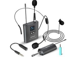 Headset Lavalier Microphone SystemLapel MicStand Mic UHF Microphone System Rechargeable RxTx 14 Output for iPhone DSLR Camera AMP PA Speaker Video Recording Teaching