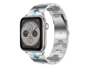 Compatible for Apple Watch Band 44mm42mmEnamel Process Stainless Steel Metal Watch Replacement Bands Compatible for Apple Watch Series 654321 SmartwatchSilver+Bule Enamel process