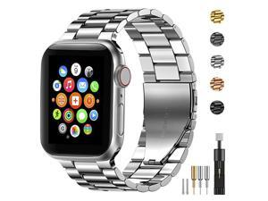 Stainless Steel Metal Band for Apple Watch 38404244mm Strap Replacement Link Bracelet Band Compatible with Apple Watch Series 6 Apple Watch Series 5 Apple Watch Series 1234Silver3840mm