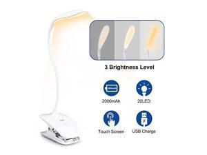 on Light Reading Lights20 LED USB Book Clamp Light with 3 Brightness Dimmer360° Flexible Lamp 2000mAh Reading LightEye Protection Kids Desk LampGooseneck Bed Night Light Warm
