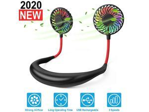 Neck Portable Sports Fans Hand Free Mini USB Rechargeable Desk Fan Headphone Design Wearable Small Personal Table Travel Office Room Household Cooling Folding Electric Airflow Black