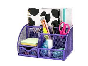 Mesh Desk Organizer Office with 7 Compartments + DrawerDesk Tidy CandyPen HolderMultifunctional Organizer Purple Color EX348PPL