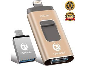 iPhone Flash Drive for iPhone 256GB 4 in 1 USB Flash Drive Type c Flash Drive 30  photostick Mobile for iPhone External Storage Android PC iPhone Picture Stick iPhone Memory Stick Gold