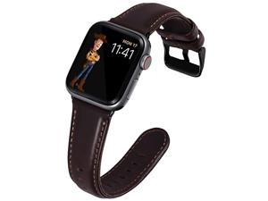 for Apple Watch Band 42mm Leather Strap for Apple Watch Band 44mm Series 4 Series 5 Series 6 iWatch Bands 42mm Coffee with Black Hardware