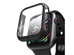 Compatible for Apple Watch Series 6/5 /4 /SE 44mm Case with Screen Protector Accessories Slim Guard Thin Bumper Full Coverage Matte Hard Cover Defense Edge for iWatch Women Men GPS (Black)