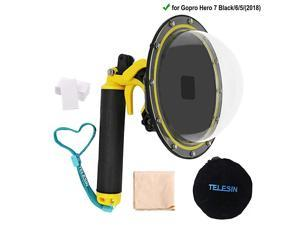 Telesin 6 Dome Lens Dome Port for Gopro Hero 7 BlackHero 6Hero 5Hero 2018 Action Cameras Snorkeling Underwater Diving Dome with Waterproof Housing Case Trigger and Soft Rubber Floating