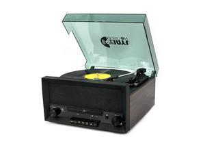 Turntable Music Center with Builtin Stereo SpeakersNostalgic Classic Wood Bluetooth Record Player with USB PlayEncodingCD Player and FM Radio