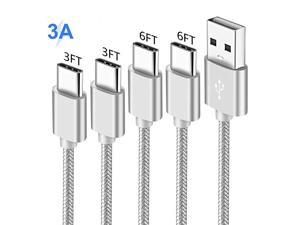 Cord for Samsung S10 S10E S20 Plus Ultra 20 5G S8 S9 10 9,A20 A10E A50 A51,Galaxy Note 10 10+ Tab S3 S4,Nokia 7.1 6.1 7,Oneplus 6T,USB Type C Charging Cable,Fast Charge Power Wire 3-3-6-6 FT