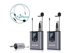 Wireless Lapel Microphone System  Dual Wireless Headset Lavalier Mic for iPhone DSLR Camera YouTube Podcast Conference Vlog Church Interview Teaching PA Speaker Video Recording