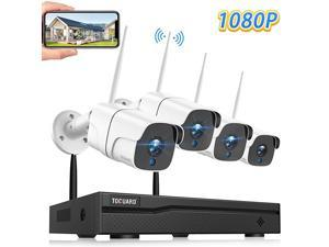 Wireless Security Camera System 8CH 1080P NVR 4Pcs 1080P OutdoorIndoor WiFi Surveillance Cameras with Motion DetectionEmail AlertNight VisionRemote MonitorWaterproofNo Hard Drive
