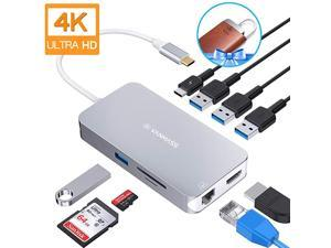 Aluminum USB C Hub 9 in 1 USB C Adapter with 4K HDMI RJ45 Gigabit Ethernet 4 USB 30 Ports TFSD 30 Card Reader 100W PD Charging Port for MacBook ProAir More USB C Devices