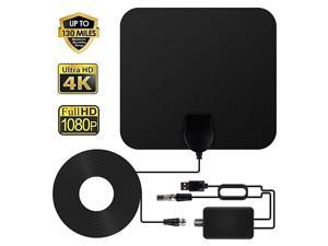 TV Antenna HDTV Antenna Indoor Support 4K 1080P 60120 Miles Range Digital Antenna VHF UHF Freeview Channels Antenna with Amplifier Signal Booster 165 Ft Longer Coaxial Cable Black