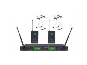 Audio 2x800 Channel UHF Diversity Wireless Lapel/Lavalier/Headset Microphone Mic System (2 Lapel Mics) 733L